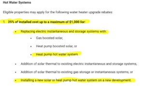 Adelaide City Council Heat Pump Incentives to change from electric instantaneous or electric storage
