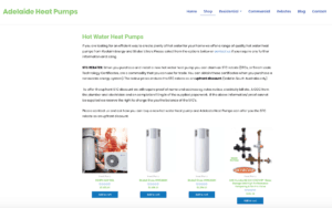 Buying hot water heat pumps in Adelaide in our online store