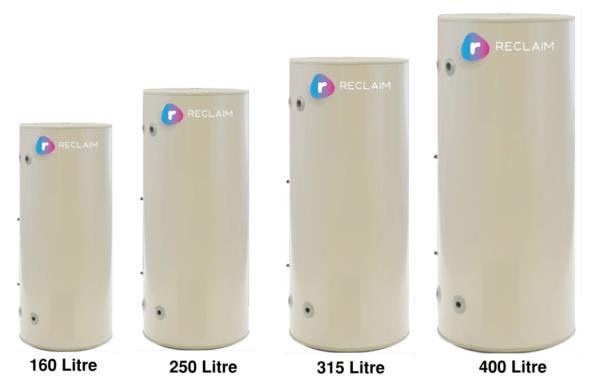 Reclaim Energy Co2 hot water heat pump tank sizes